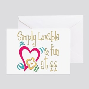 Lovable 22nd Greeting Card