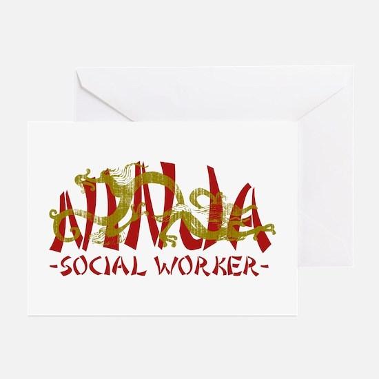 Dragon Ninja Social Worker Greeting Cards (Pk of 1