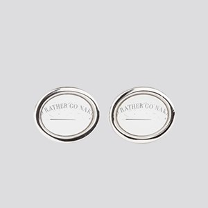 Inspiration quote - I'd rather go n Oval Cufflinks