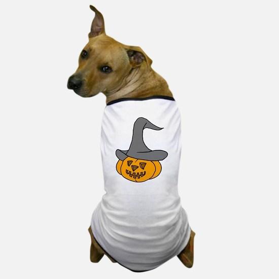 Pumpkin in Halloween Hat Dog T-Shirt