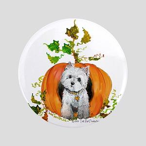 """Autumn Pumpkin Westie 3.5"""" Button"""