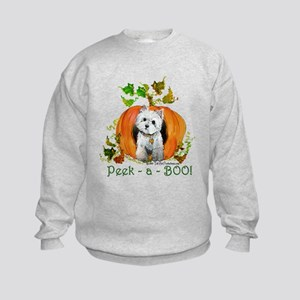 Autumn Pumpkin Westie Kids Sweatshirt
