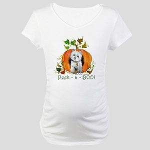 Autumn Pumpkin Westie Maternity T-Shirt
