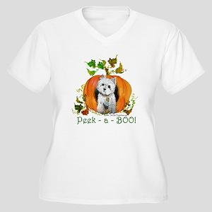 Autumn Pumpkin Westie Women's Plus Size V-Neck T-S
