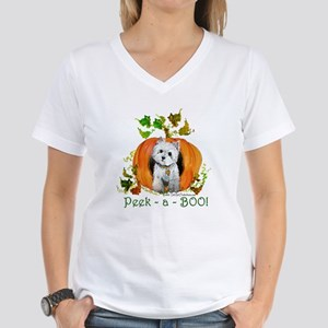 Autumn Pumpkin Westie Women's V-Neck T-Shirt