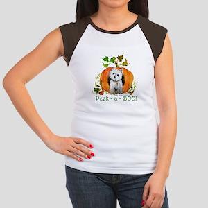 Autumn Pumpkin Westie Women's Cap Sleeve T-Shirt