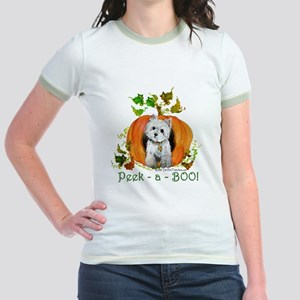 Autumn Pumpkin Westie Jr. Ringer T-Shirt