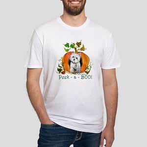 Autumn Pumpkin Westie Fitted T-Shirt