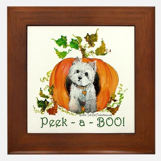 Autumn Pumpkin Westie Framed Tile