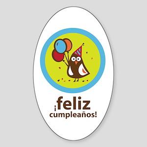 Spanish Happy Birthday Oval Sticker