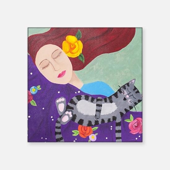 """Cute Redheaded Square Sticker 3"""" x 3"""""""
