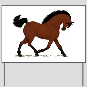 Bay Trotting Horse Pony Yard Sign