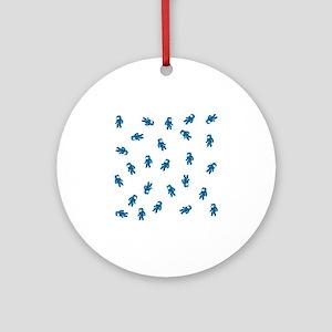 Assorted Blue Candy Astronauts Patt Round Ornament