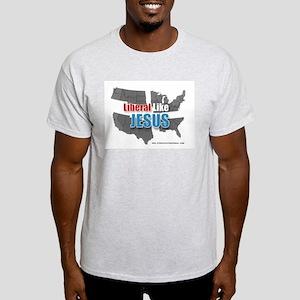 Liberal like Jesus - USA Grey Map Ash Grey T-Shirt