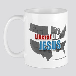 Liberal like Jesus - USA Grey Map Mug