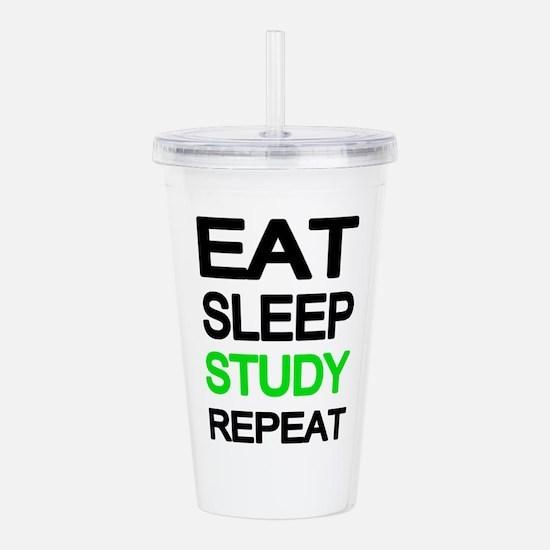 Eat sleep study repeat Acrylic Double-wall Tumbler