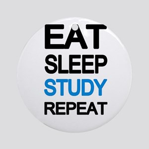 Eat sleep study repeat Round Ornament