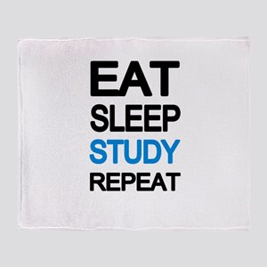 Eat sleep study repeat Throw Blanket