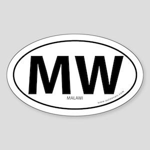 Malawi country bumper sticker -White (Oval) Sticke