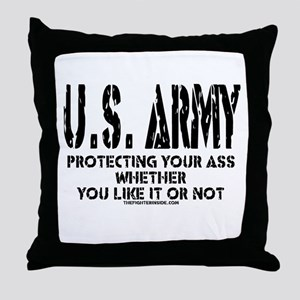 US ARMY PROTECTING YOUR ASS Throw Pillow