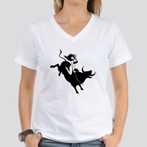 Black Bull Rider Women's V-Neck T-Shirt