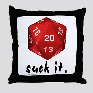 d20 Suck It Throw Pillow