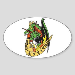 Dragon Attitude Oval Sticker