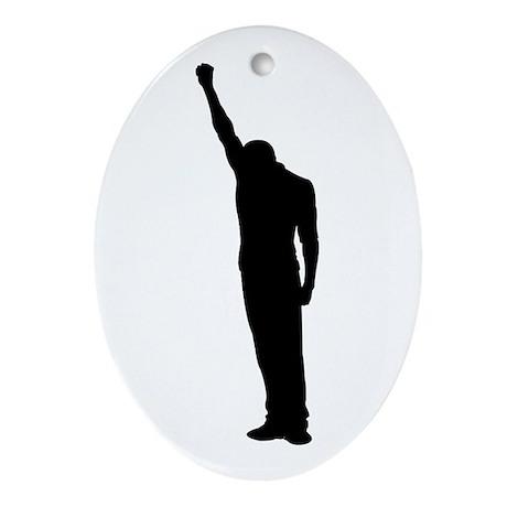 Black Power Fist Raised Oval Ornament