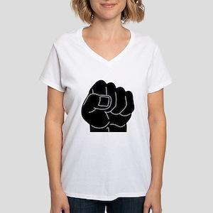 Black Power Fist Women's V-Neck T-Shirt