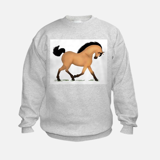 Trotting Buckskin Horse Sweatshirt