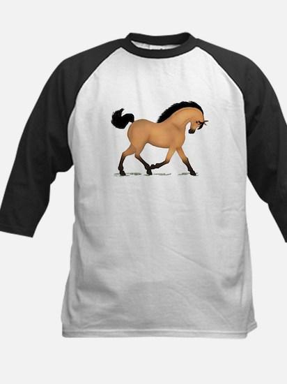 Trotting Buckskin Horse Kids Baseball Jersey