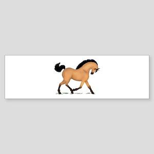 Trotting Buckskin Horse Bumper Sticker