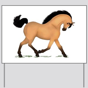Trotting Buckskin Horse Yard Sign