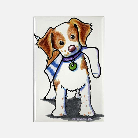 Playful Brittany Spaniel Rectangle Magnet