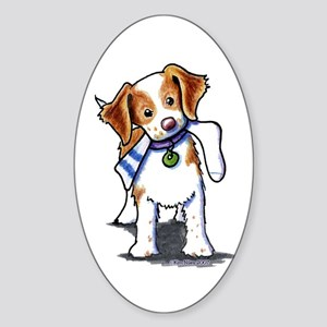 Playful Brittany Spaniel Oval Sticker (10 pk)