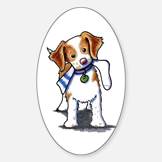 Playful Brittany Spaniel Oval Sticker (10 pk)