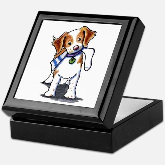 Playful Brittany Spaniel Keepsake Box