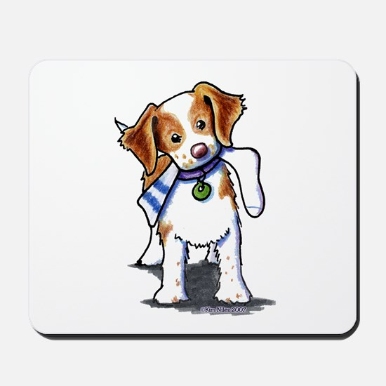 Playful Brittany Spaniel Mousepad
