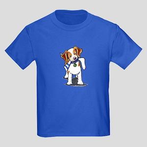 Playful Brittany Spaniel Kids Dark T-Shirt