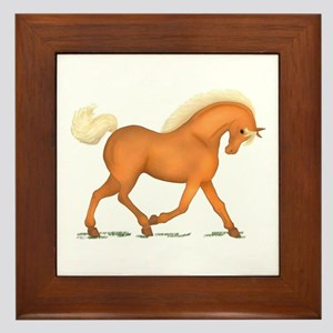 Bright Gold Palomino Horse Framed Tile