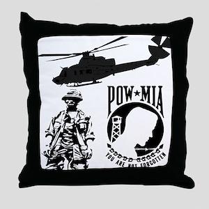 POW-MIA Black Throw Pillow
