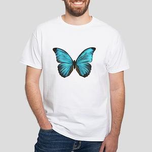 Amathonte Morpho Butterfly male White T-Shirt