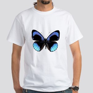 Blue Eunica Tropical Butterfly White T-Shirt