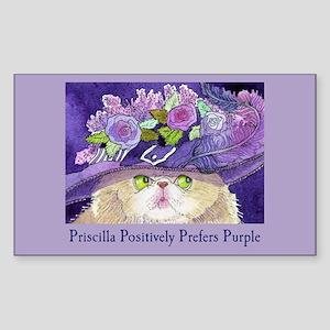 Priscilla CAT Prefers Purple Rectangle Sticker