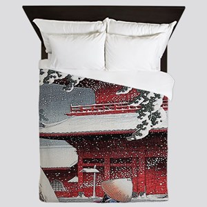 Vintage Japanese Painting Queen Duvet