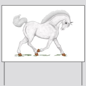 Light Gray Horse Pony Yard Sign