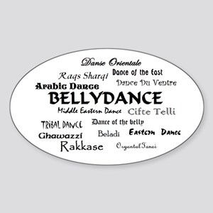 Names of Bellydance round Oval Sticker