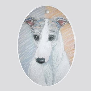 """""""Ivy"""" a Whippet Oval Ornament"""