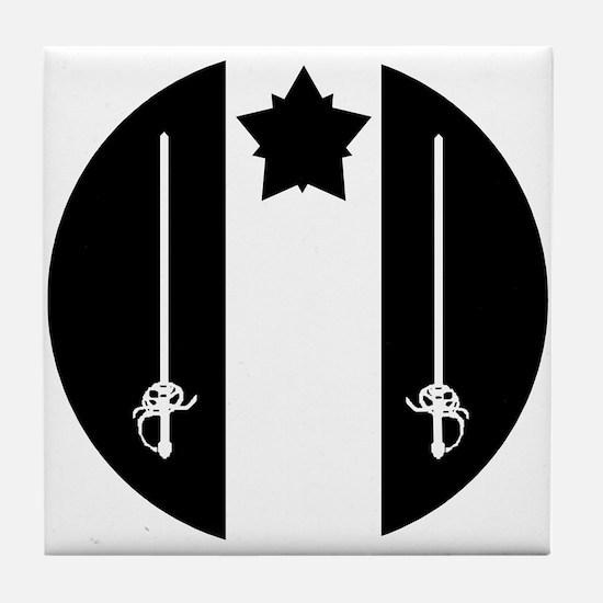 White Scarf Badge Tile Coaster