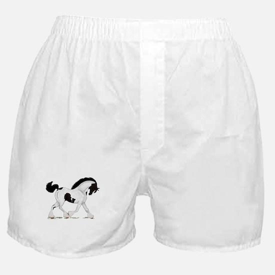 Black Piebald Gypsy Horse Boxer Shorts